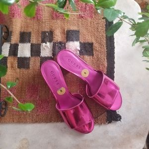 NWT Guess Hot Pink Reflective Block Heels